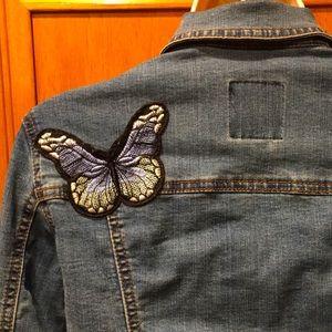 Cavalini Blue Stretchy Distressed Jean Jacket Sz S